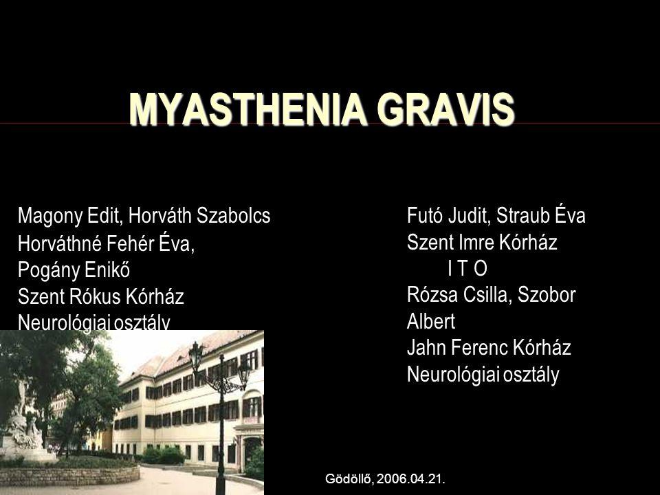 MYASTHENIA GRAVIS Futó Judit, Straub Éva Szent Imre Kórház I T O
