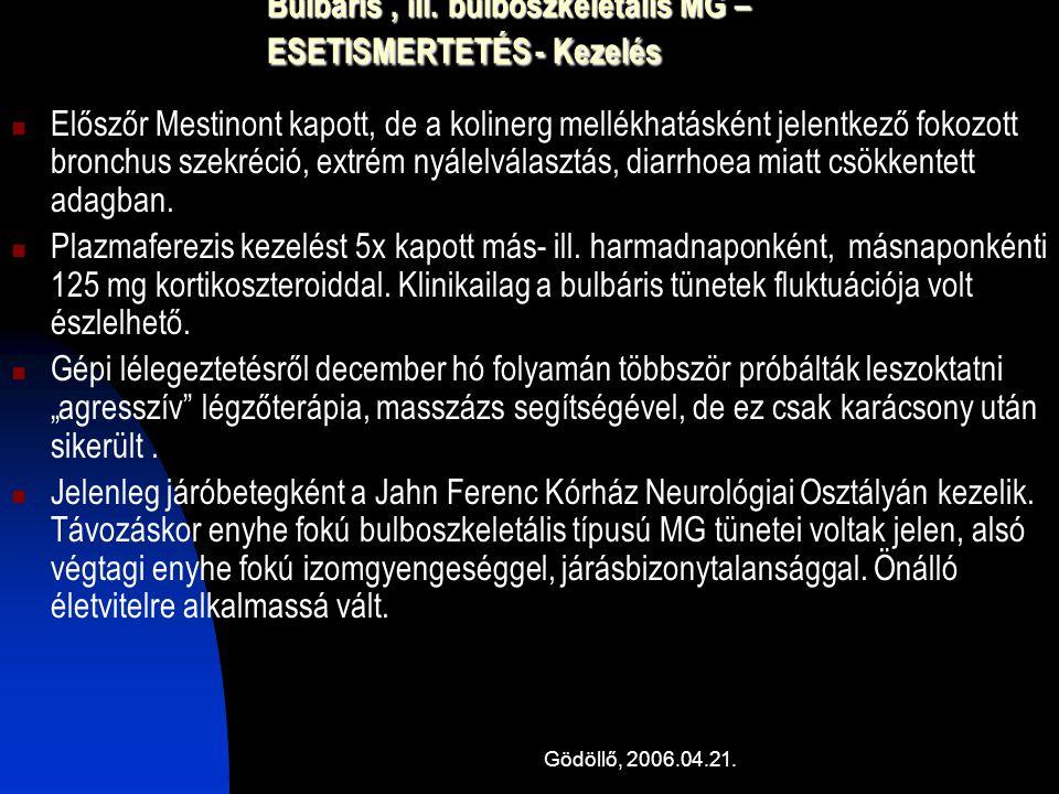 Bulbaris , ill. bulboszkeletális MG – ESETISMERTETÉS - Kezelés