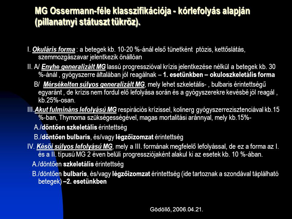 MG Ossermann-féle klasszifikációja - kórlefolyás alapján (pillanatnyi státuszt tükröz).