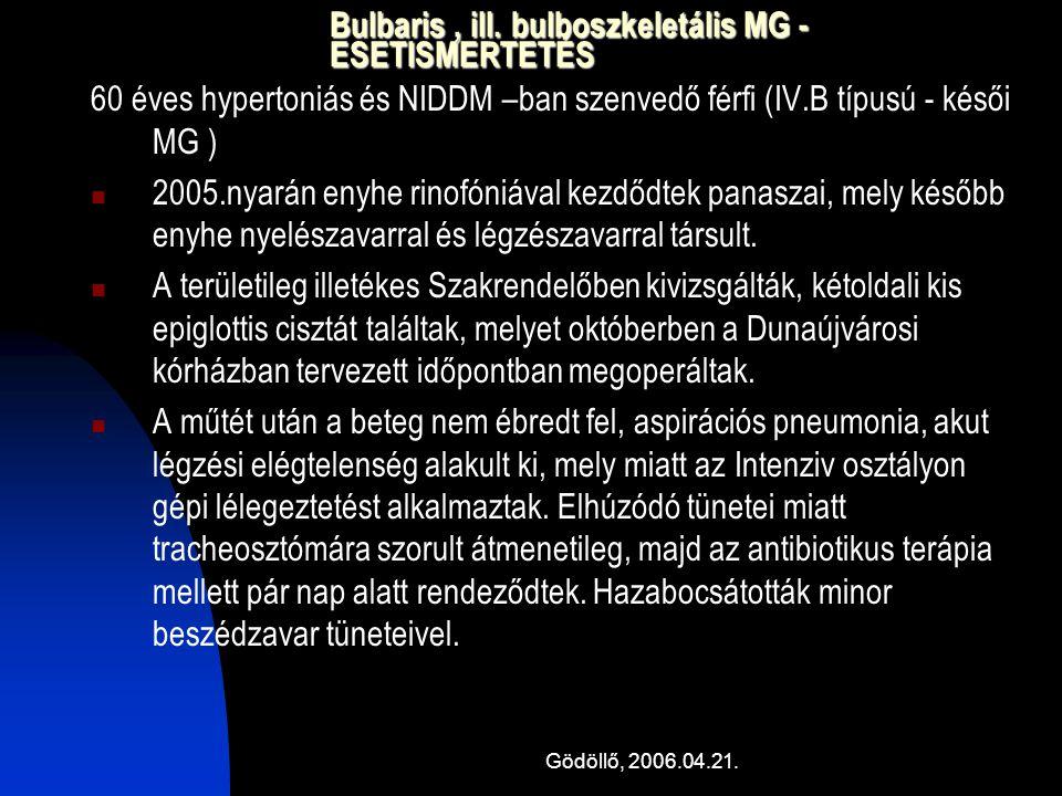 Bulbaris , ill. bulboszkeletális MG - ESETISMERTETÉS