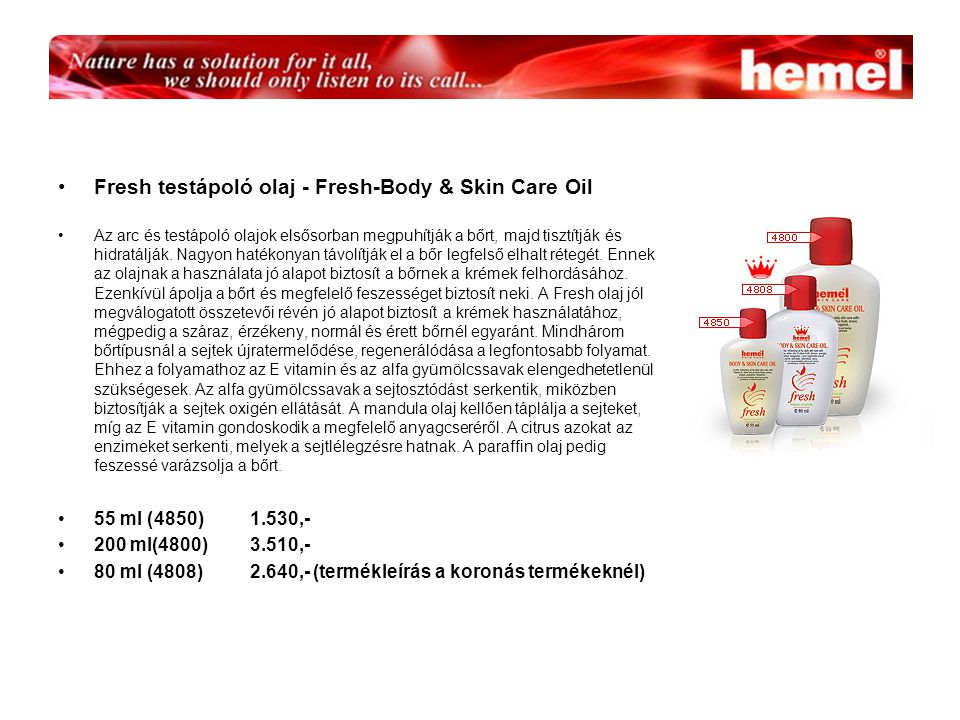 Fresh testápoló olaj - Fresh-Body & Skin Care Oil