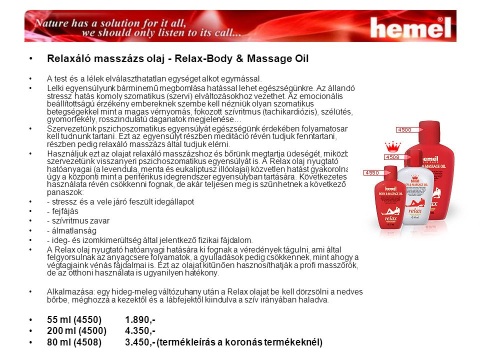 Relaxáló masszázs olaj - Relax-Body & Massage Oil