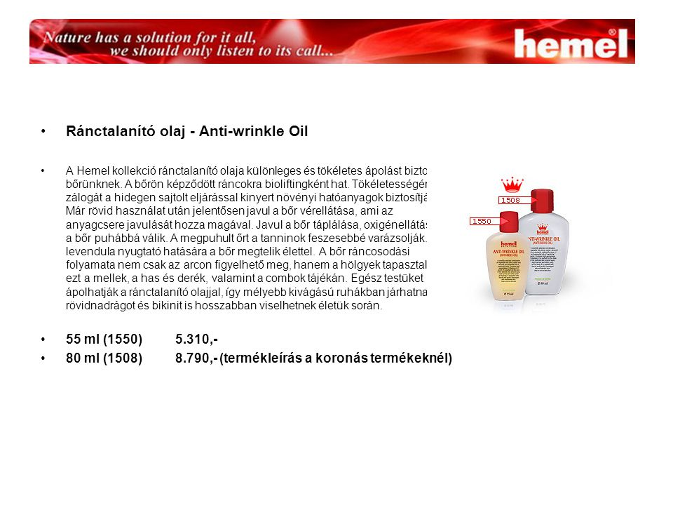 Ránctalanító olaj - Anti-wrinkle Oil