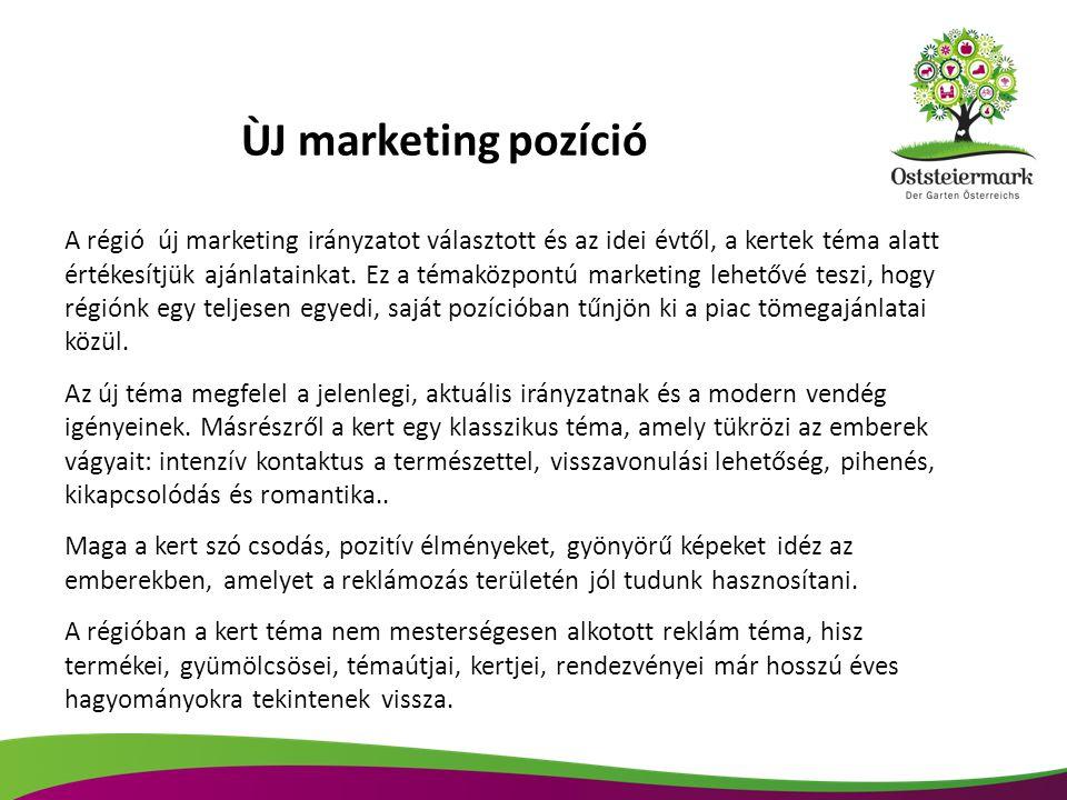 ÙJ marketing pozíció A régió új marketing irányzatot választott és az idei évtől, a kertek téma alatt.