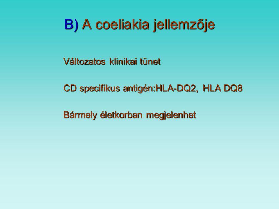B) A coeliakia jellemzője