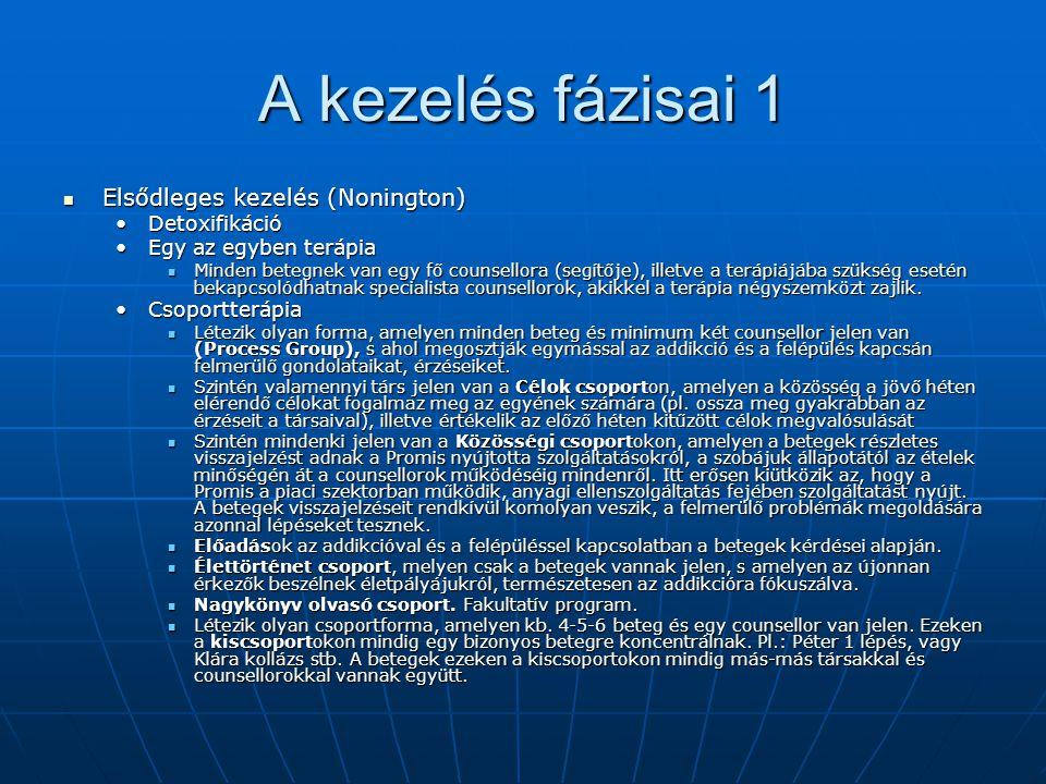 A kezelés fázisai 1 Elsődleges kezelés (Nonington) Detoxifikáció