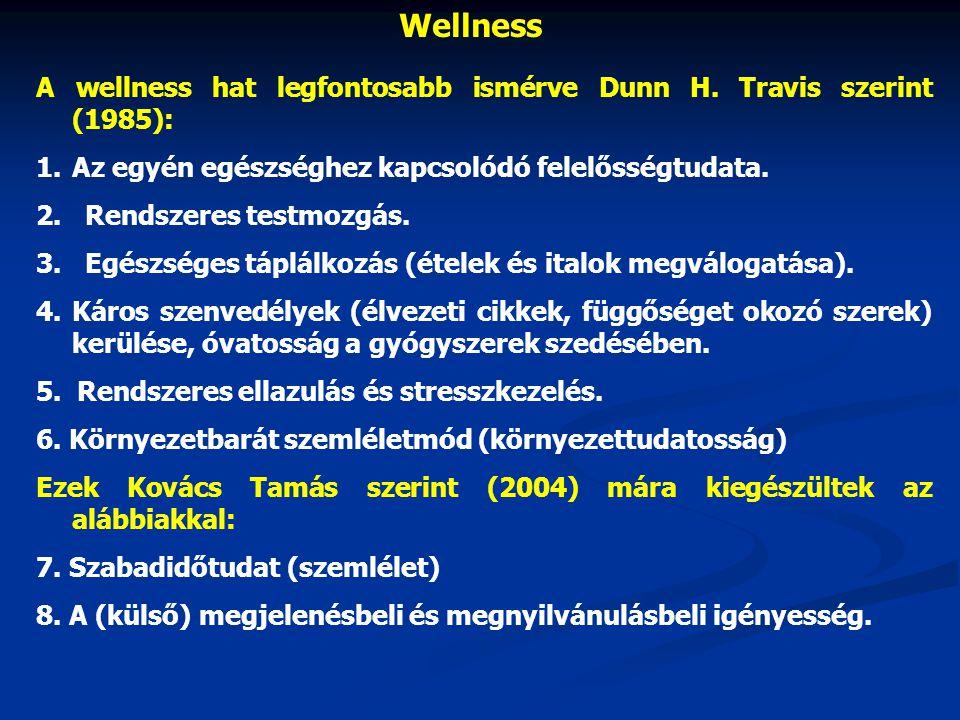 Wellness A wellness hat legfontosabb ismérve Dunn H. Travis szerint (1985): Az egyén egészséghez kapcsolódó felelősségtudata.
