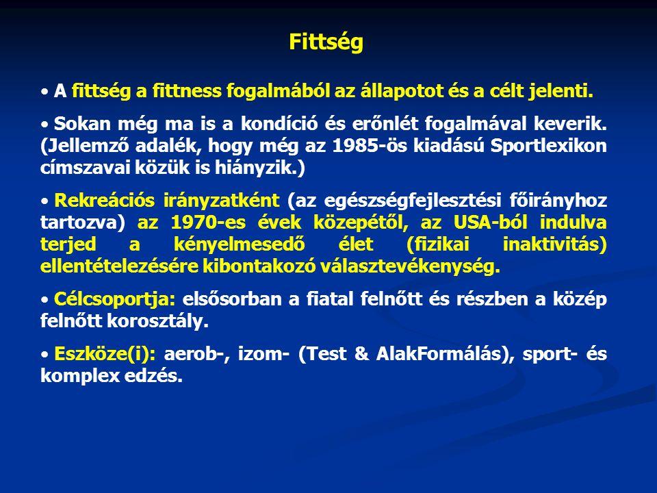 Fittség A fittség a fittness fogalmából az állapotot és a célt jelenti.