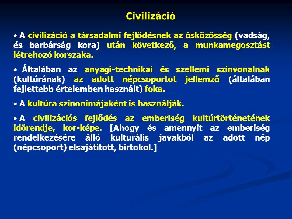 Civilizáció A civilizáció a társadalmi fejlődésnek az ősközösség (vadság, és barbárság kora) után következő, a munkamegosztást létrehozó korszaka.