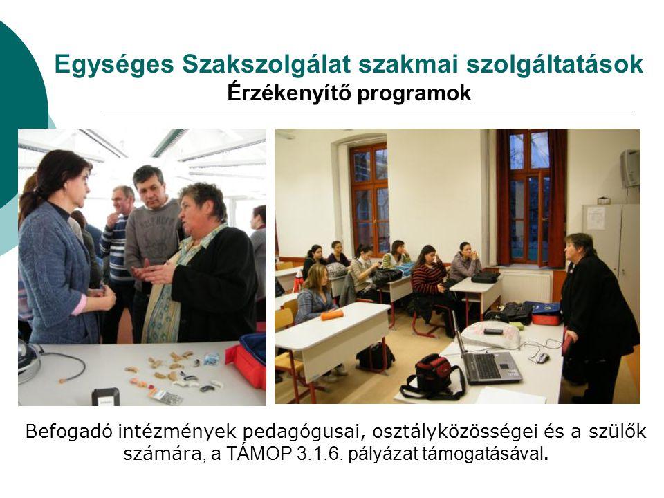 Egységes Szakszolgálat szakmai szolgáltatások Érzékenyítő programok
