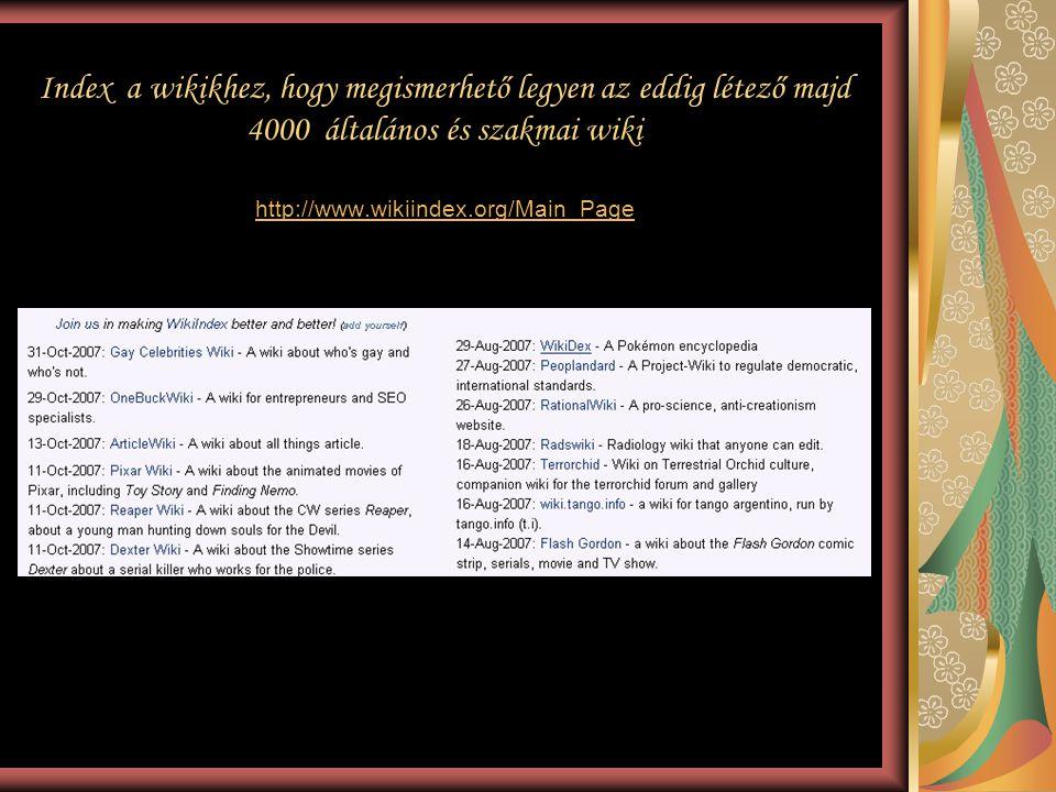 Index a wikikhez, hogy megismerhető legyen az eddig létező majd 4000 általános és szakmai wiki http://www.wikiindex.org/Main_Page