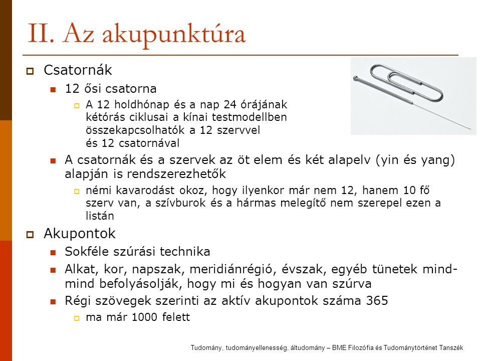 II. Az akupunktúra Csatornák Akupontok 12 ősi csatorna