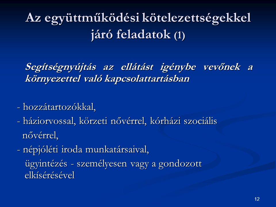Az együttműködési kötelezettségekkel járó feladatok (1)