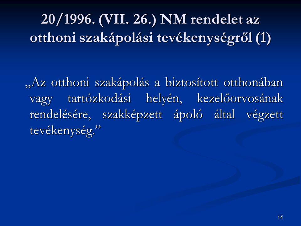 20/1996. (VII. 26.) NM rendelet az otthoni szakápolási tevékenységről (1)