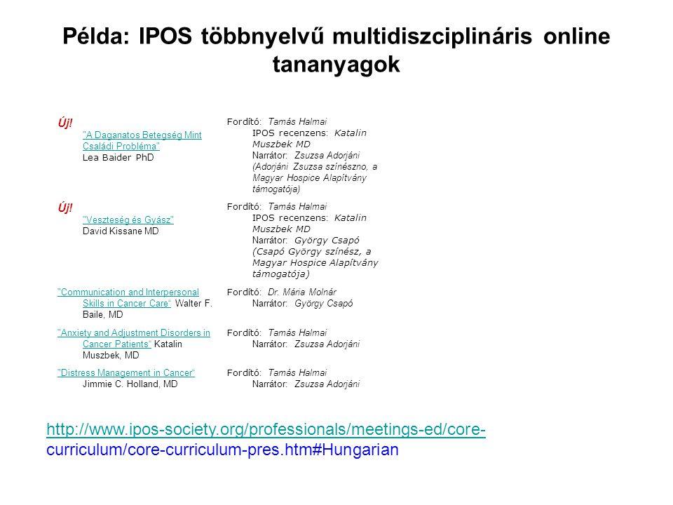 Példa: IPOS többnyelvű multidiszciplináris online tananyagok