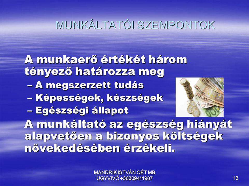 MUNKÁLTATÓI SZEMPONTOK