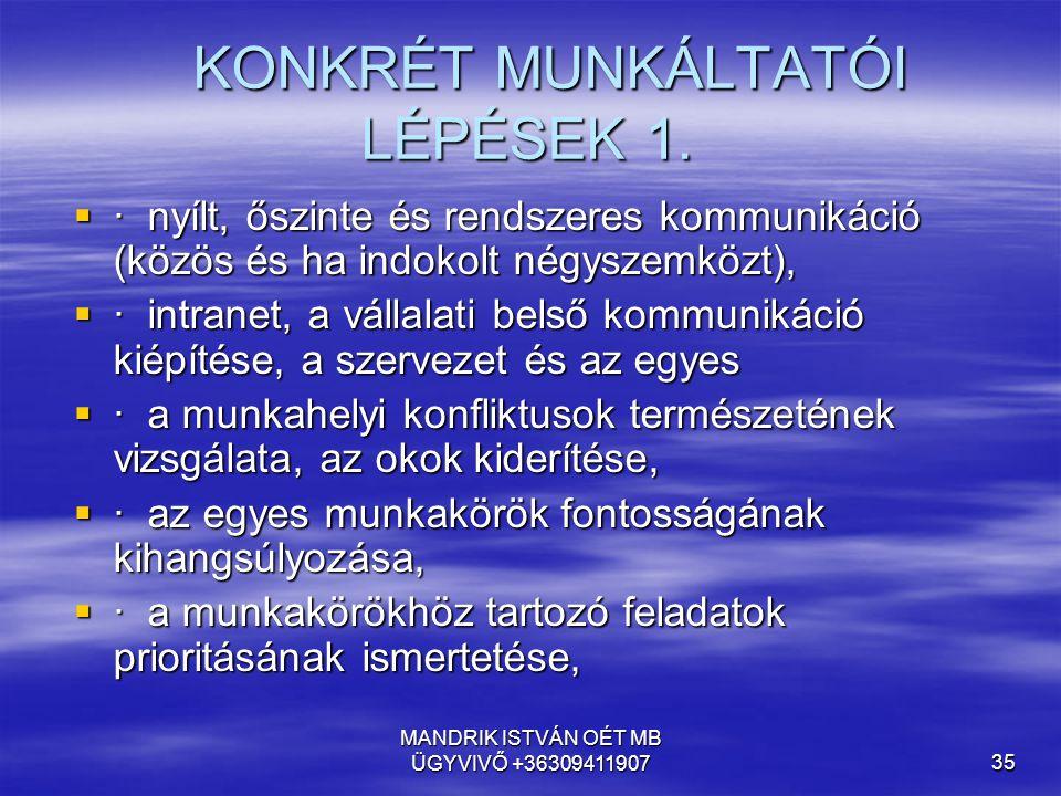KONKRÉT MUNKÁLTATÓI LÉPÉSEK 1.