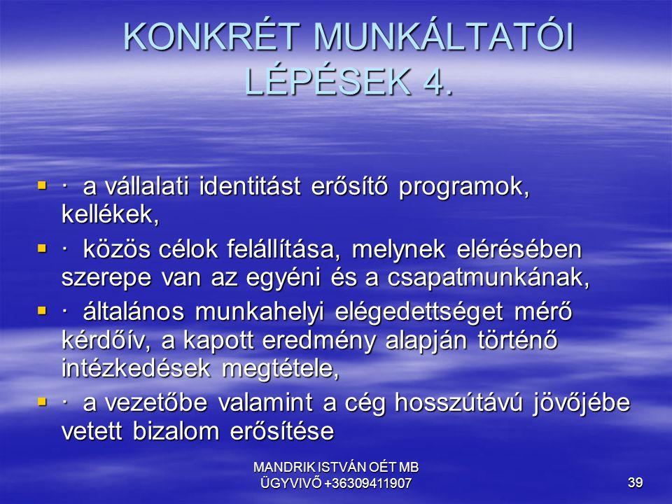 KONKRÉT MUNKÁLTATÓI LÉPÉSEK 4.