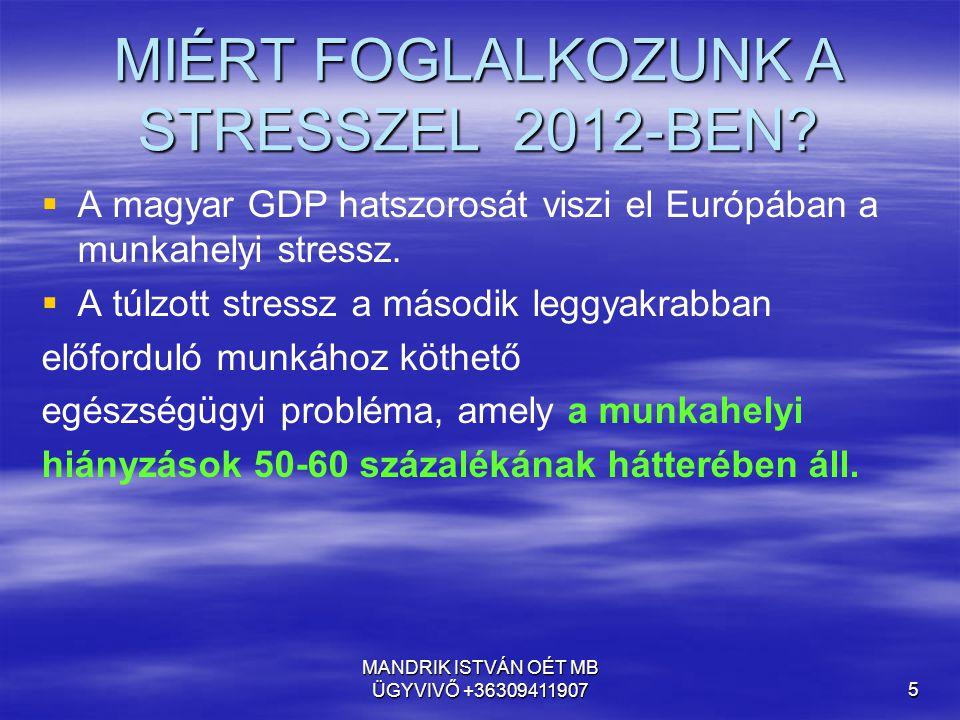 MIÉRT FOGLALKOZUNK A STRESSZEL 2012-BEN