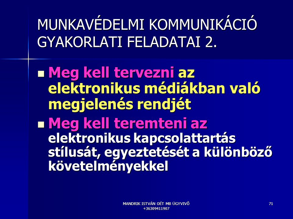 MUNKAVÉDELMI KOMMUNIKÁCIÓ GYAKORLATI FELADATAI 2.