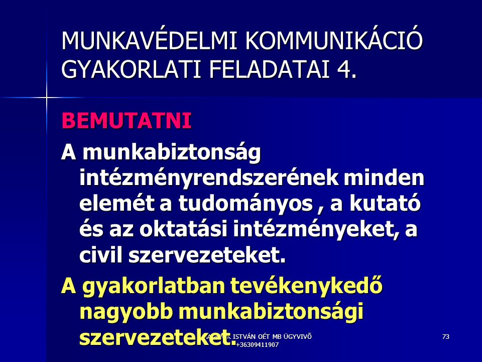 MUNKAVÉDELMI KOMMUNIKÁCIÓ GYAKORLATI FELADATAI 4.