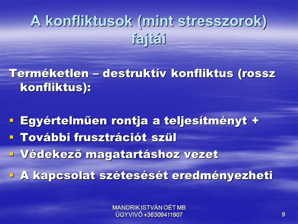 A konfliktusok (mint stresszorok) fajtái