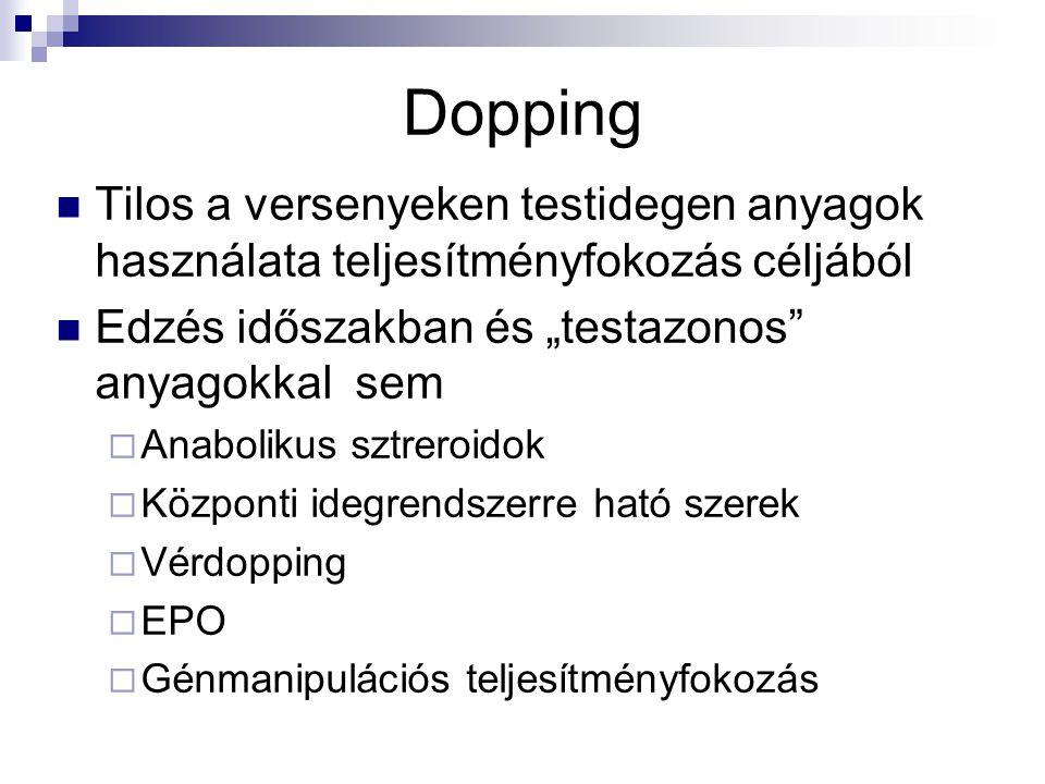 """Dopping Tilos a versenyeken testidegen anyagok használata teljesítményfokozás céljából. Edzés időszakban és """"testazonos anyagokkal sem."""