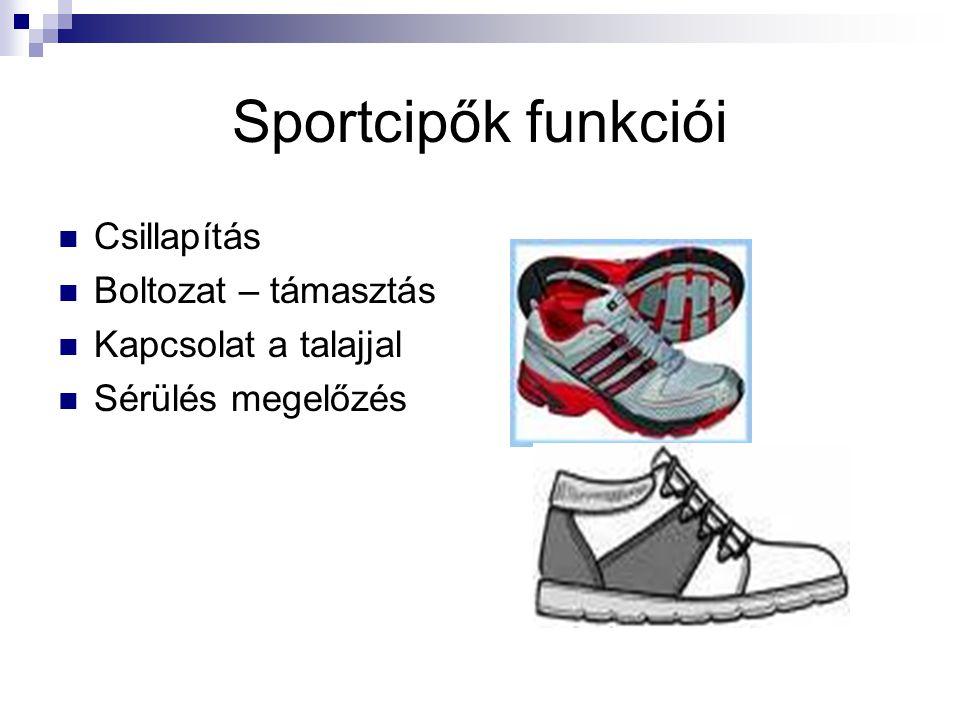 Sportcipők funkciói Csillapítás Boltozat – támasztás