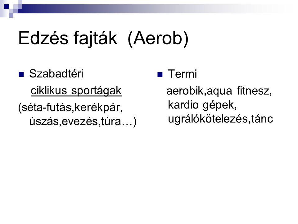Edzés fajták (Aerob) Szabadtéri Termi ciklikus sportágak