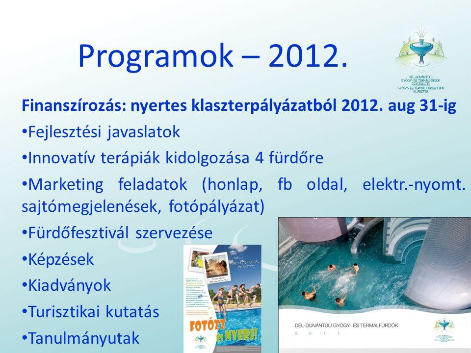Programok – 2012. Finanszírozás: nyertes klaszterpályázatból 2012. aug 31-ig. Fejlesztési javaslatok.