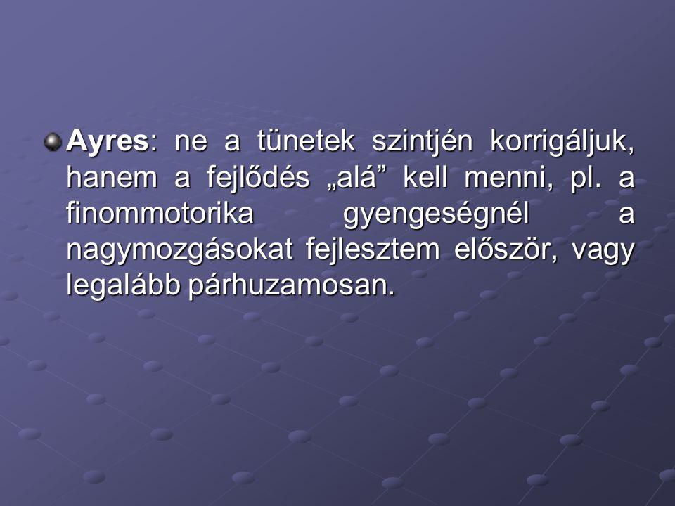 """Ayres: ne a tünetek szintjén korrigáljuk, hanem a fejlődés """"alá kell menni, pl."""