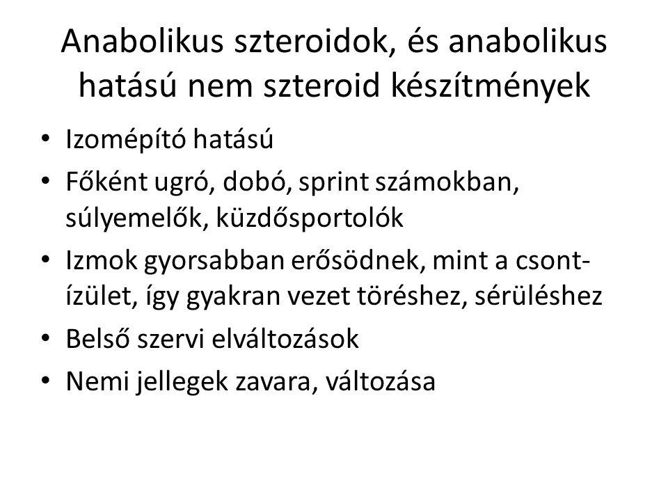 Anabolikus szteroidok, és anabolikus hatású nem szteroid készítmények
