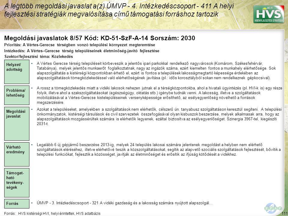 Megoldási javaslatok 8/57 Kód: KD-51-SzF-A-14 Sorszám: 2030