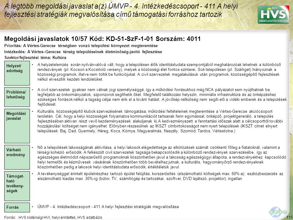 Megoldási javaslatok 10/57 Kód: KD-51-SzF-1-01 Sorszám: 4011