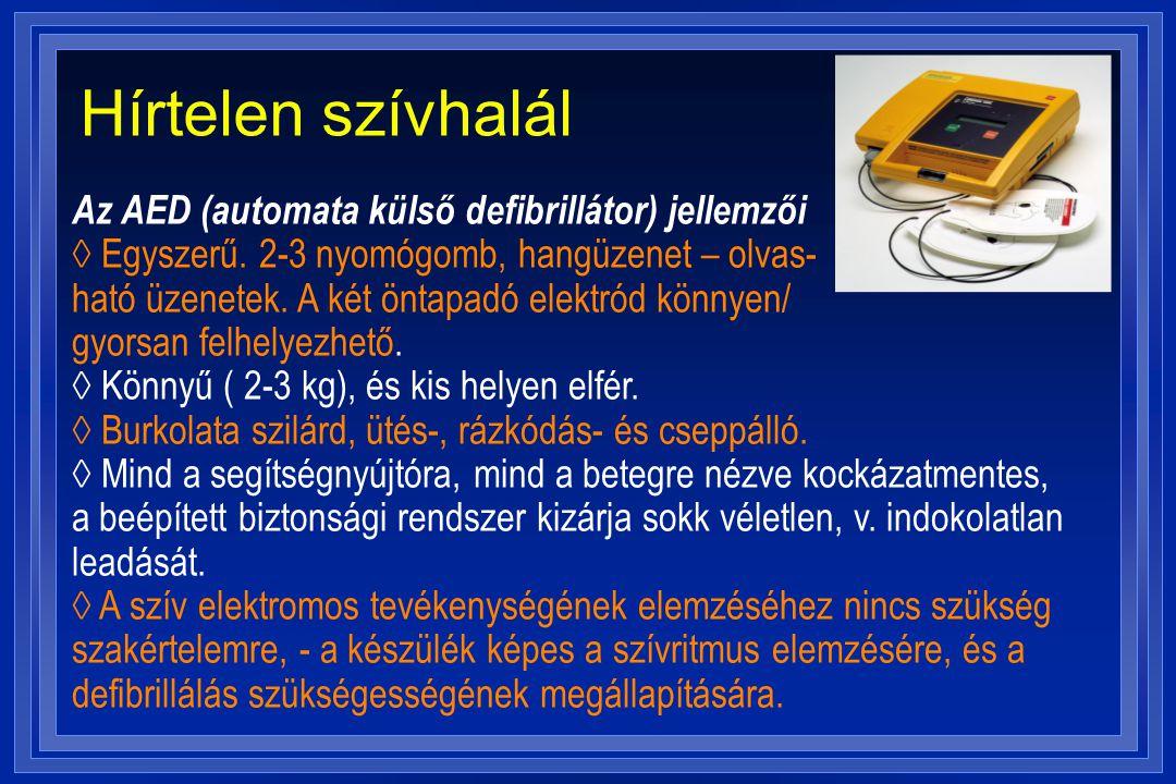 Hírtelen szívhalál Az AED (automata külső defibrillátor) jellemzői ◊ Egyszerű. 2-3 nyomógomb, hangüzenet – olvas-