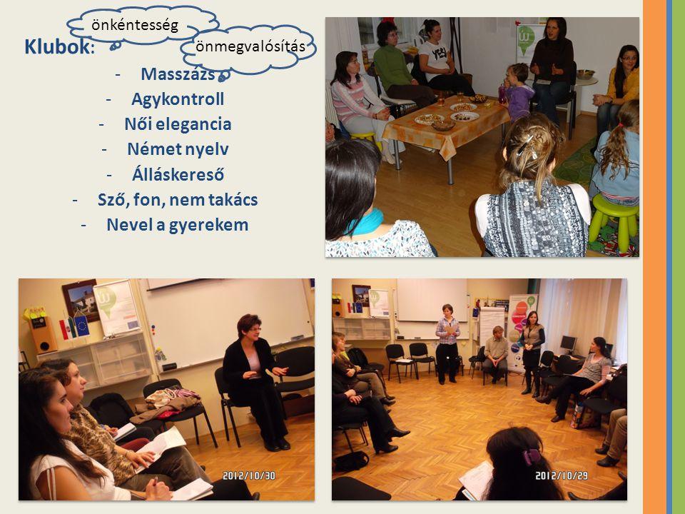 Klubok: Masszázs Agykontroll Női elegancia Német nyelv Álláskereső