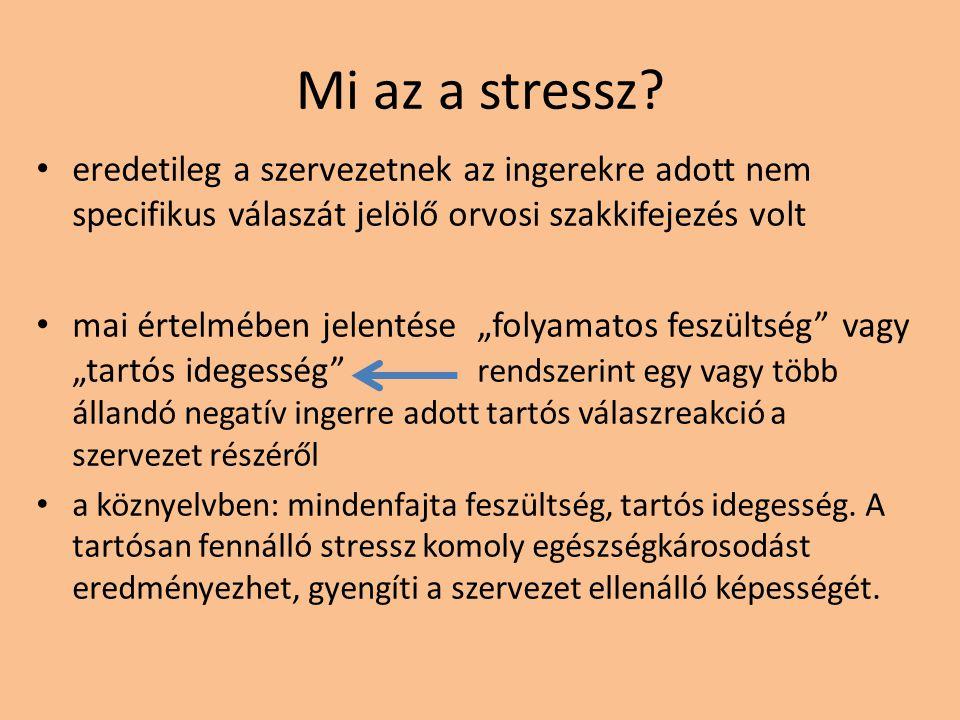 Mi az a stressz eredetileg a szervezetnek az ingerekre adott nem specifikus válaszát jelölő orvosi szakkifejezés volt.
