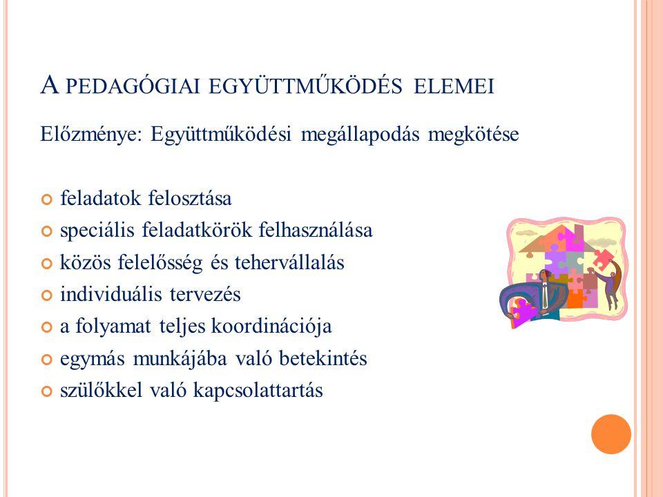 A pedagógiai együttműködés elemei
