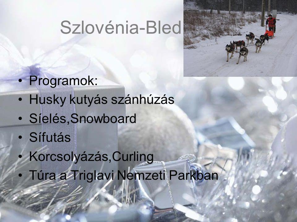 Szlovénia-Bled Programok: Husky kutyás szánhúzás Síelés,Snowboard