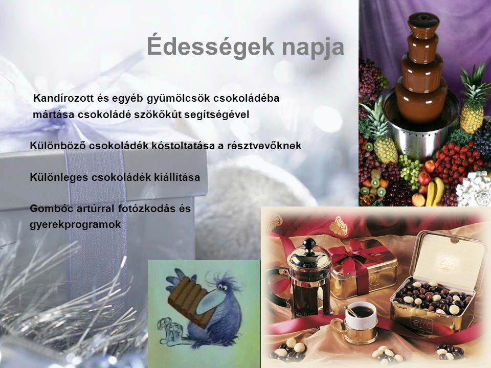 Édességek napja Kandírozott és egyéb gyümölcsök csokoládéba