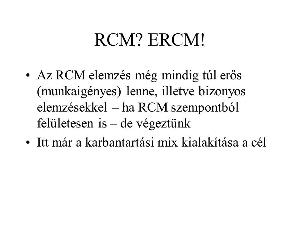 RCM ERCM! Az RCM elemzés még mindig túl erős (munkaigényes) lenne, illetve bizonyos elemzésekkel – ha RCM szempontból felületesen is – de végeztünk.