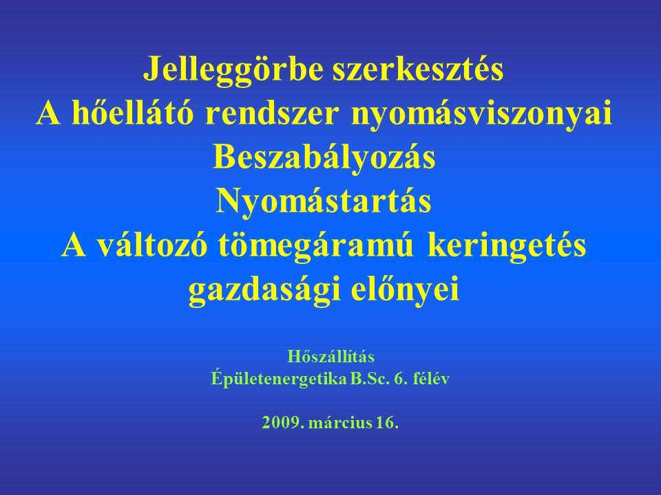 Hőszállítás Épületenergetika B.Sc. 6. félév 2009. március 16.