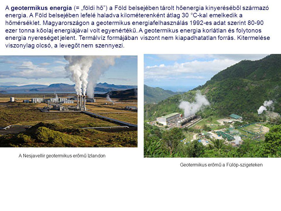 """A geotermikus energia (= """"földi hő ) a Föld belsejében tárolt hőenergia kinyeréséből származó energia. A Föld belsejében lefelé haladva kilométerenként átlag 30 °C-kal emelkedik a hőmérséklet. Magyarországon a geotermikus energiafelhasználás 1992-es adat szerint 80-90 ezer tonna kőolaj energiájával volt egyenértékű. A geotermikus energia korlátlan és folytonos energia nyereséget jelent. Termálvíz formájában viszont nem kiapadhatatlan forrás. Kitermelése viszonylag olcsó, a levegőt nem szennyezi."""