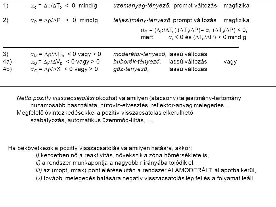 1). ao = Dr/DTo < 0 mindíg. üzemanyag-tényező, prompt változás