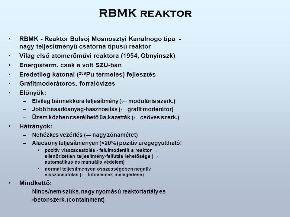 RBMK reaktor RBMK - Reaktor Bolsoj Mosnosztyi Kanalnogo tipa - nagy teljesítményű csatorna típusú reaktor.