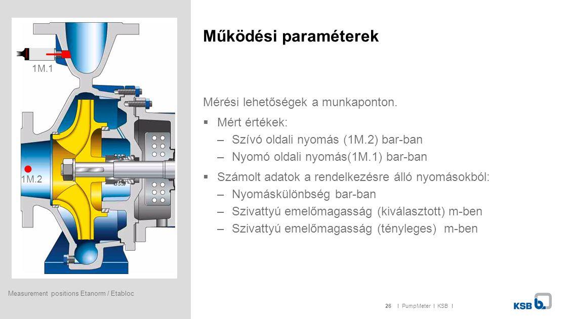 Működési paraméterek Mérési lehetőségek a munkaponton. Mért értékek: