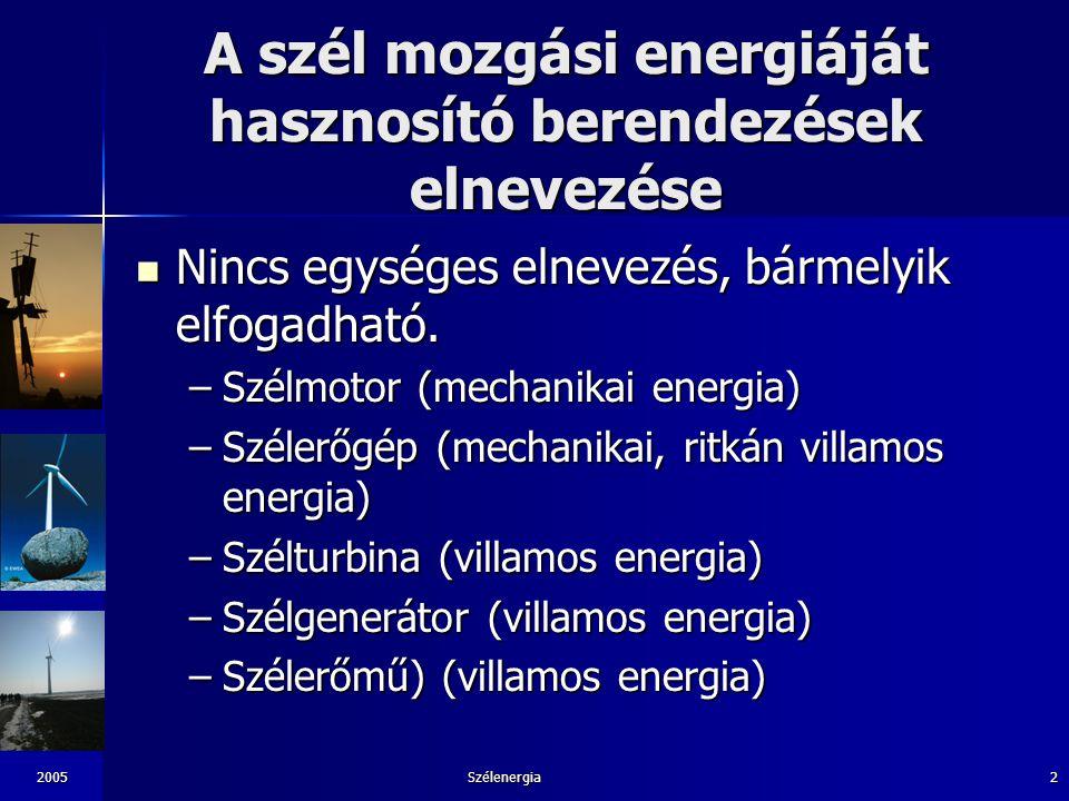 A szél mozgási energiáját hasznosító berendezések elnevezése
