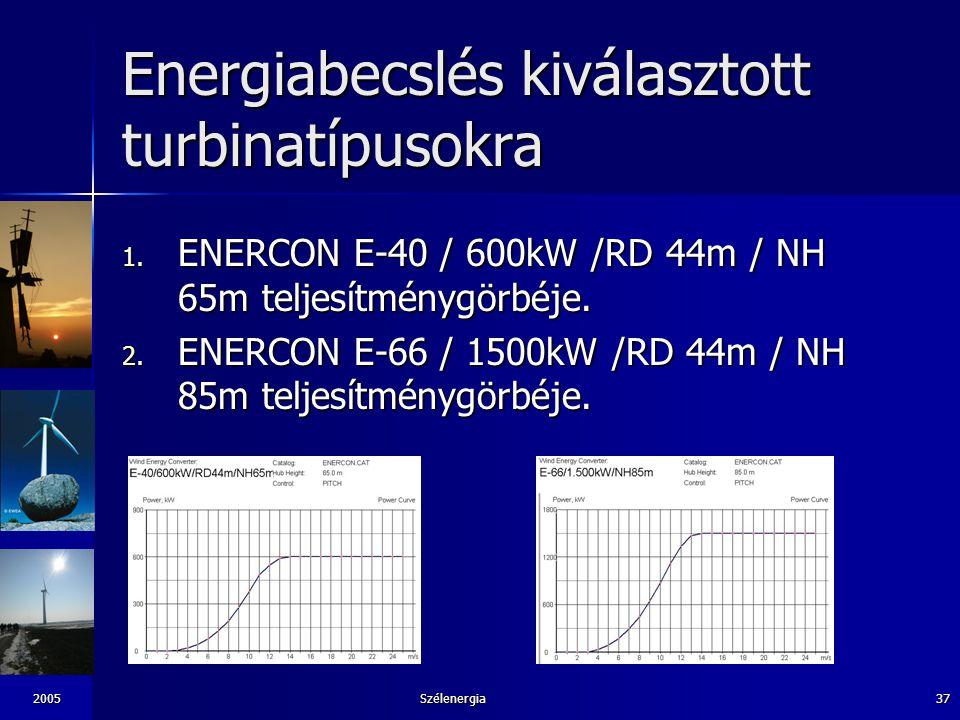 Energiabecslés kiválasztott turbinatípusokra