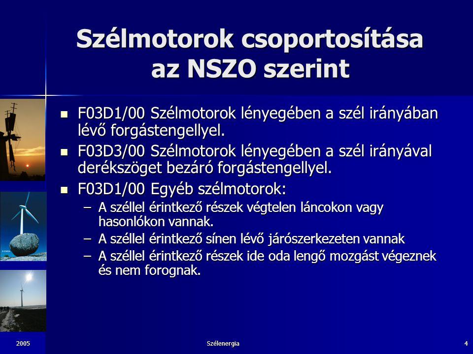 Szélmotorok csoportosítása az NSZO szerint