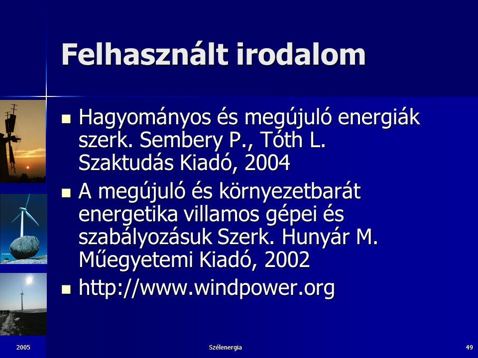 Felhasznált irodalom Hagyományos és megújuló energiák szerk. Sembery P., Tóth L. Szaktudás Kiadó, 2004.